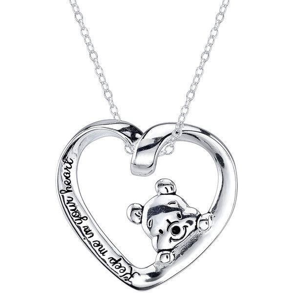 Disney Winnie the Pooh Sterling Silver Heart Pendant Necklace ($62) ❤ liked on Polyvore featuring jewelry, necklaces, accessories, disney, lullabies, heart necklace, cross necklace, chain necklace, sterling silver jewelry and pandora jewelry