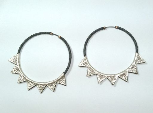 """2"""" Triangle burst platinum leather, black waxed linen, oxidized sterling silver ear hoops by Molly M. Designs"""