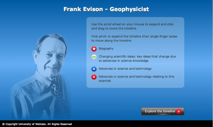 Interactive timeline to explore the life and science of Frank Evison. Frank worked in the field of earthquake prediction.