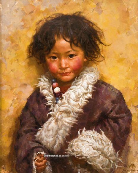 Tibetan Boy With Beads