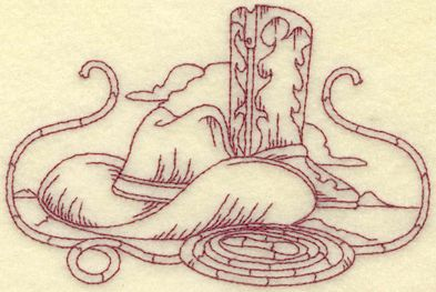 Free Cowboy hat hand Embroidery Design | Embroidery.com: Cowboy hat boot and rope small: Embroidery Designs ...