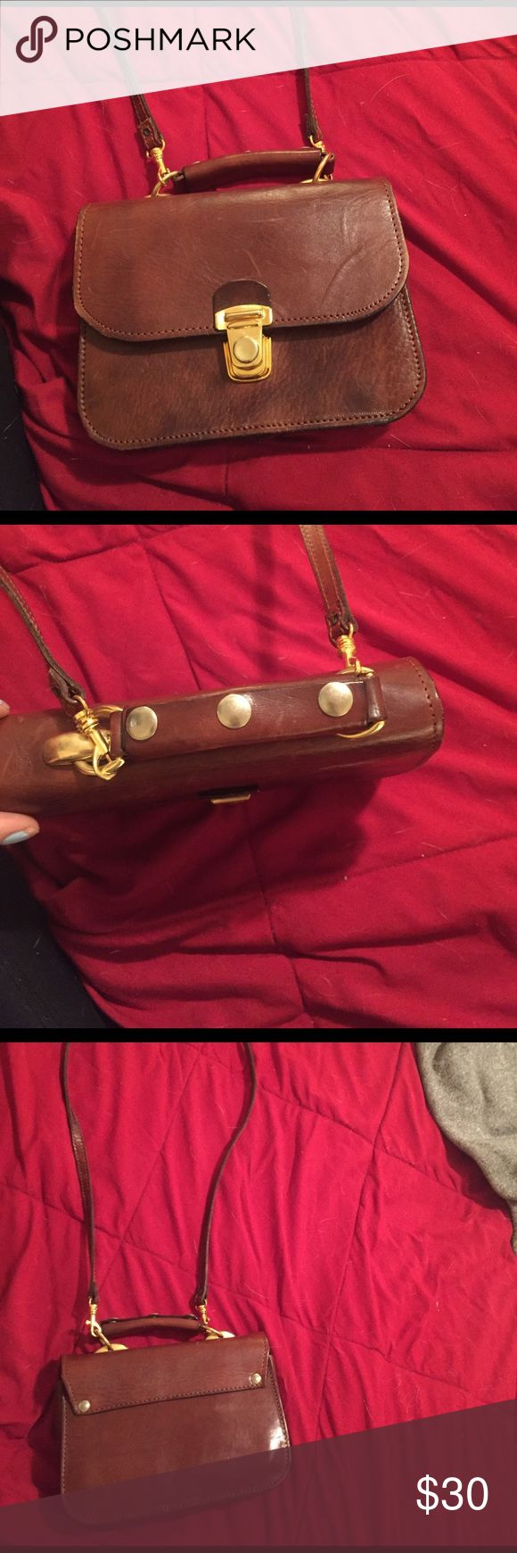 Real leather brown side purse Slight used, real leather, Warszawa/hetman Bags Shoulder Bags
