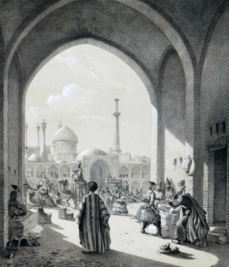A_caravanserai_in_Isfahan_by_Eugène_Flandin.jpg (1847×2160)
