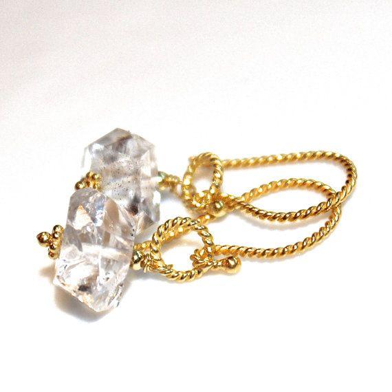 Herkimer Diamond Earrings Quartz Earrings Sparkly by FizzCandy, $55.00