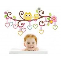 Swirly Branch With Owls and Heart Frames decal. Wall stickers are available at www.kidzdecor.co.za. Free postage throughout South Africa