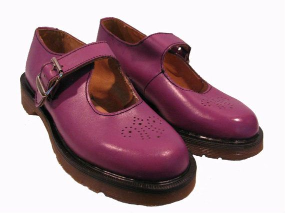Dr Martens Mary Jane Shoes Womens Vintage 1980s NaNa Purple Leather DMs Baby Dolls from England Wms US size 8 on Etsy, $110.00