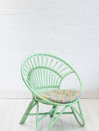Rattan Round Chair Pastel Green