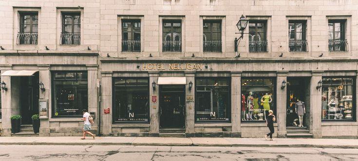 #architecture #brick walls #building #city #commerce #door #facade #historic building #hotel #montreal #pavement #people #shop window #sidewalk #street #town #travel #urban #windows