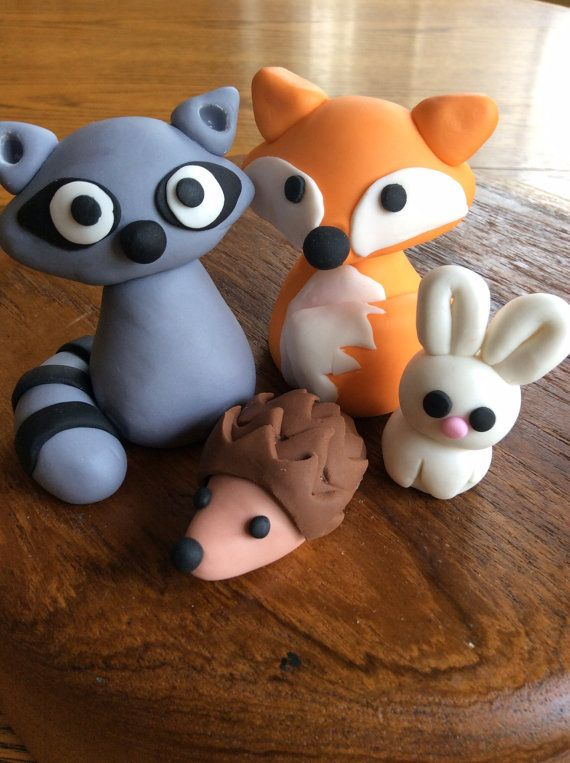 Fondant woodland creatures by EdibleAvenue on Etsy