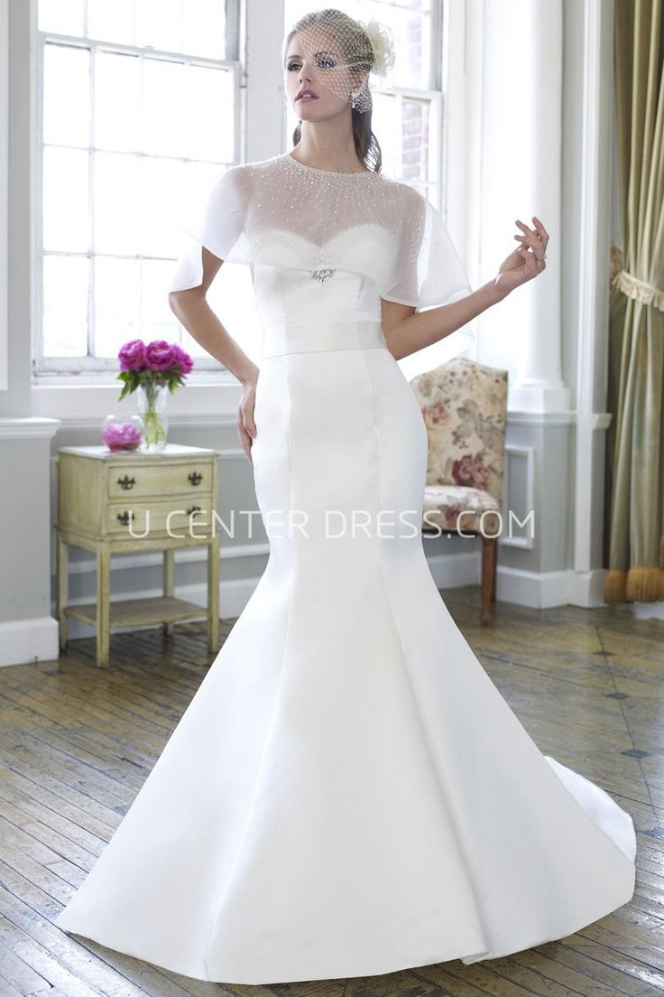 23 best slit front wedding dresses images on pinterest wedding mermaid sweetheart satin wedding dress with beading and broach ombrellifo Gallery