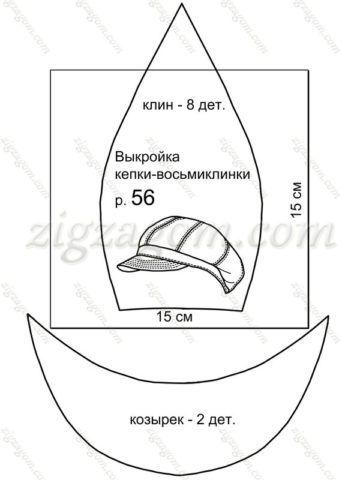 Выкройка кепки-восьмиклинки