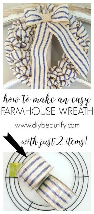 WOW! You have got to see how to make this farmhouse wreath for under $10, in less than 30 minutes! Tutorial available at diy beautify! by natalia