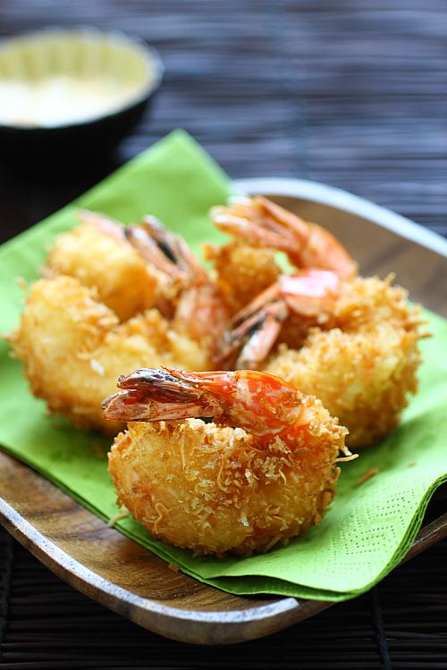 Coconut Shrimp -the shrimp has a juicy sweet taste that bursts in my mouth and the coating is crispy, airy, without being greasy