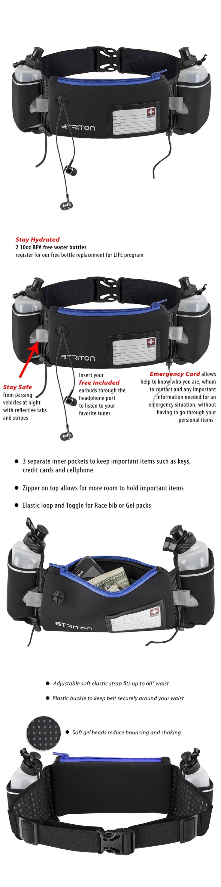 Running Belts 179802: Hydration Running Belt - Free Headphones - 2 Bpa Free Water Bottles - Emergency -> BUY IT NOW ONLY: $30.54 on eBay!