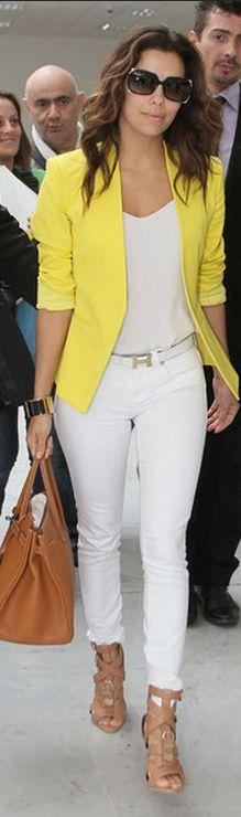 Fresh, bright & Casual: Outfits, Fashion, Style, Evalongoria, White Pants, Eva Longoria, White Jeans, Yellow Jackets, Yellow Blazers