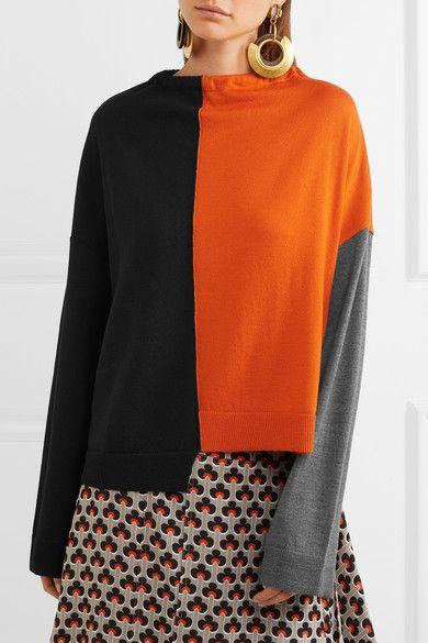 Marni - Oversized Color-block Wool Sweater - Orange - IT48