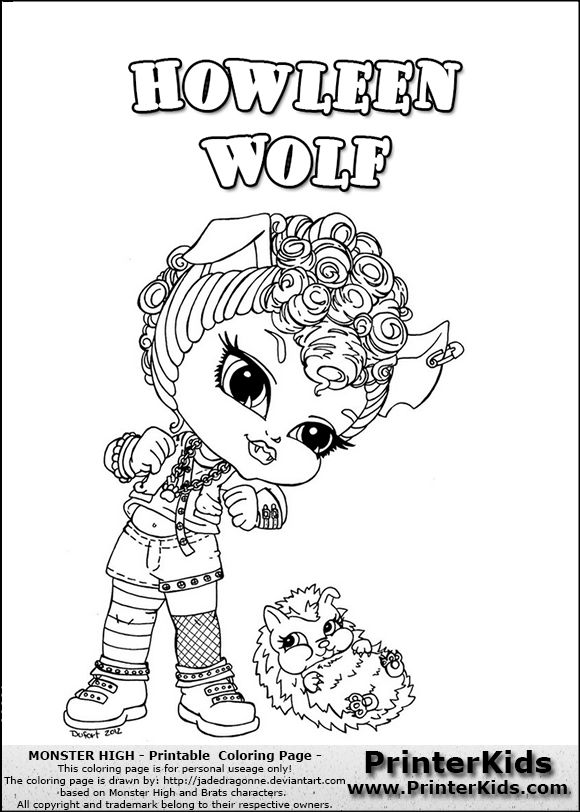 howleen wolf coloring pages - baby monster high coloring pages monster high howleen