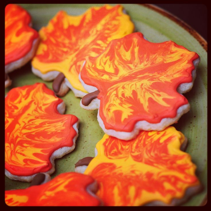 Royal Icing Maple Leaf Cut-out sugar cookies. Edible Arts