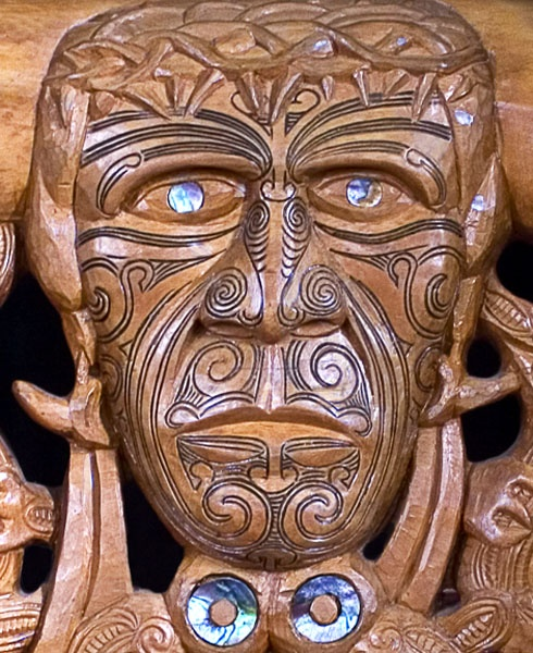 This carving of the head of Christ is the center piece of the altar frontispiece in St. Joseph's Catholic church at Jerusalem on the Whanganui River in New Zealand.  Christ is represented in traditional Maori fashion with face tattoos (ta moko) and a crown of thorns. Paua (abalone) shell is used to decorate the carving.     The small village of Jerusalem has figured large in the post-European history of New Zealand.