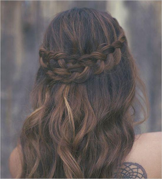 Pretty braided do for wedding or everyday. Hair: Hair and Make-Up By Steph ---> http://www.weddingchicks.com/2014/05/10/bohemian-forest-themed-wedding-ideas/