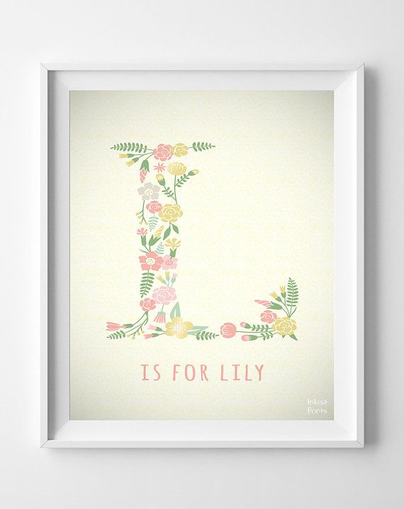 Custom Baby Name Lily print Letter L Monogram by InkistPrints, $11.95