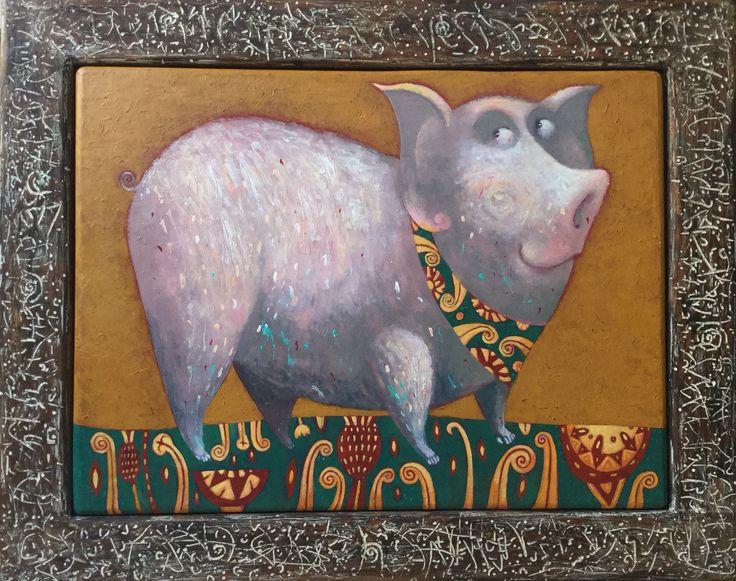 "Pavel Nikolaev, ""Pig"", 60х80(80х100), oil, wood, 2015."