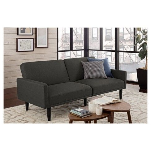 Linen Futon With Arms Gray Room Essentials Target K Obviously Not For Our Main Sofa But For A Loveseat Futon Living Room Grey Futon Grey Room