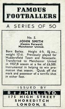1939 R & J Hill Famous Footballers Series 1 #5 Jack Smith Back