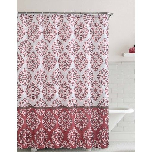 """Shower Curtain- Ashur Red Embossed Microfiber- 72""""X 72"""""""