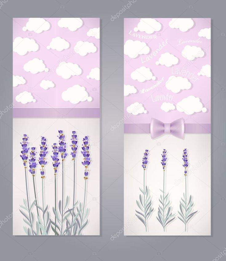 Přání s květy levandule a mraky