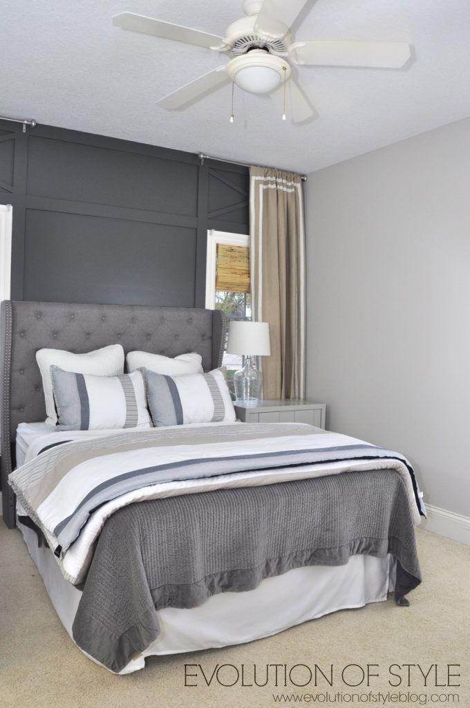 one room challenge reveal day 1926 contender gray greige accent wall bedroom gray. Black Bedroom Furniture Sets. Home Design Ideas
