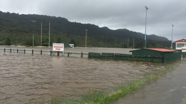 Water levels are high at Runanga on the West Coast.
