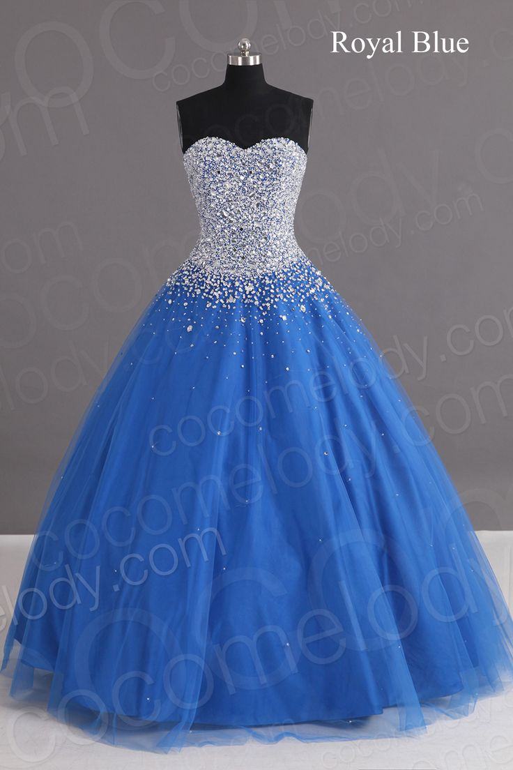 Charming A Line Sweetheart Floor Length Tulle Blue Lace-up Corset Quinceanera dress with Crystals COLF1400F
