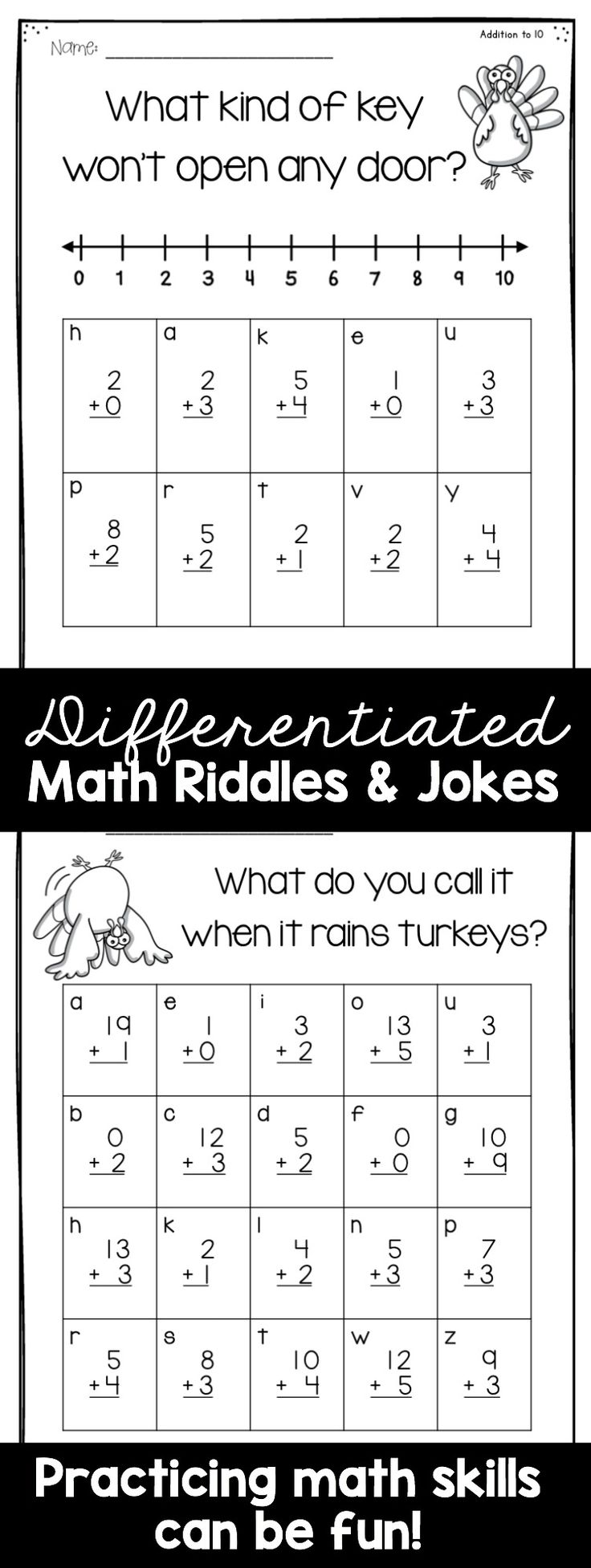 My students LOVE these!!! Students must answer the riddle/joke by solving the math problems!