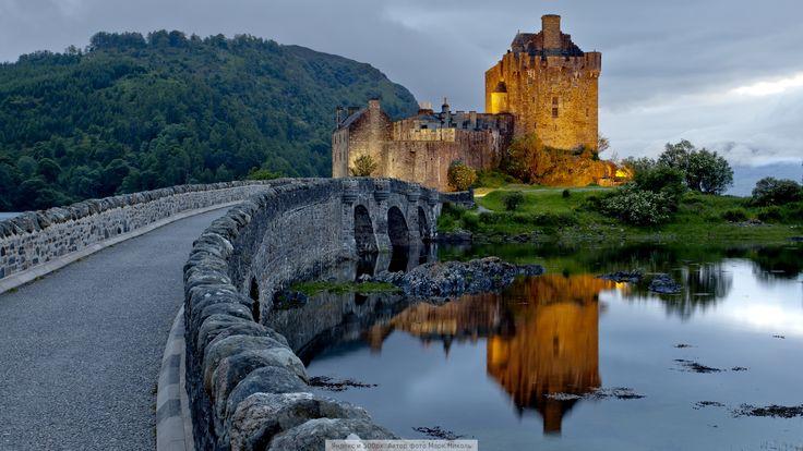 Скачать обои на рабочий стол 1920х1080, Замок Эйлен-Донан. Живописное место неподалёку от Дорни, небольшого городка в Шотландском высокогорье.