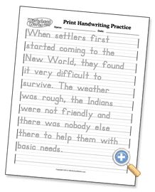Print Handwriting Practice - custom worksheets, type own worksheet - choose, text, page title, instructions, text size 6 to 18 point, insert blank line after each line of text, letter darkness 20% to 100%, line style dashed or outlined or solid, guide darkness 20% to 100%, and ascender, x height, and descender guide lines, orientation as letter/portrait or landscape - WorksheetWorks.com