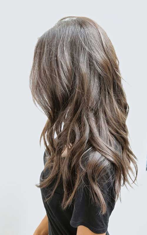 Dark-Ash-Brown Hair with Long Waves and Layers