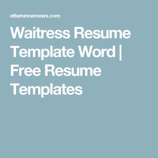 25 best Job preppage images on Pinterest Gym, Helpful hints and - resume templates for waitress