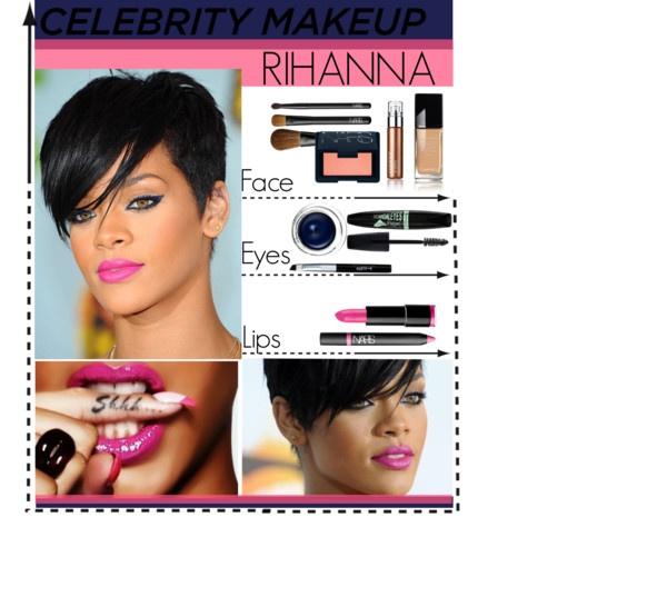 """""""Celebrity Make up - Rihanna"""" by matildeln ❤ liked on Polyvore"""