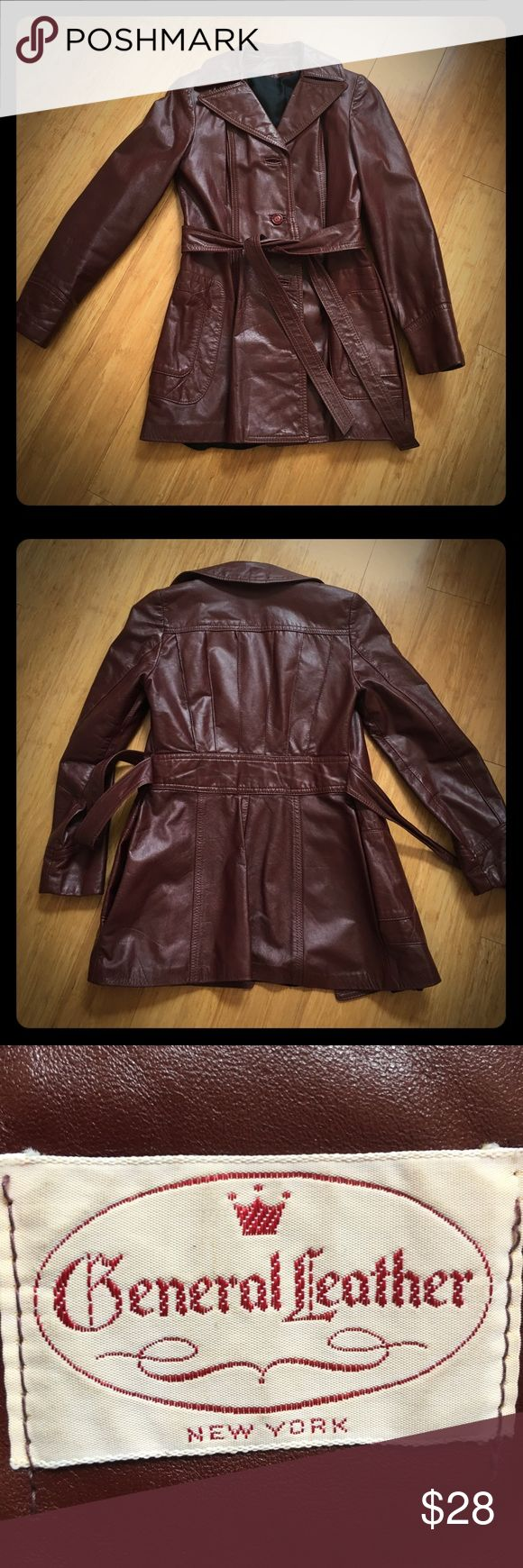 """Super Great vintage condition real leather jacket Awesome vintage leather jacket by General Leather, beautiful burgundy color with attached belt, piping on back, pockets, fully lined and lining all intact, very good wearable condition, if it was a bit bigger I would keep it!! See pic for chest measurement, about 34"""" pit to pit, I would say a size small - awesome piece for your collection -amazing!! General Leather Jackets & Coats Blazers"""