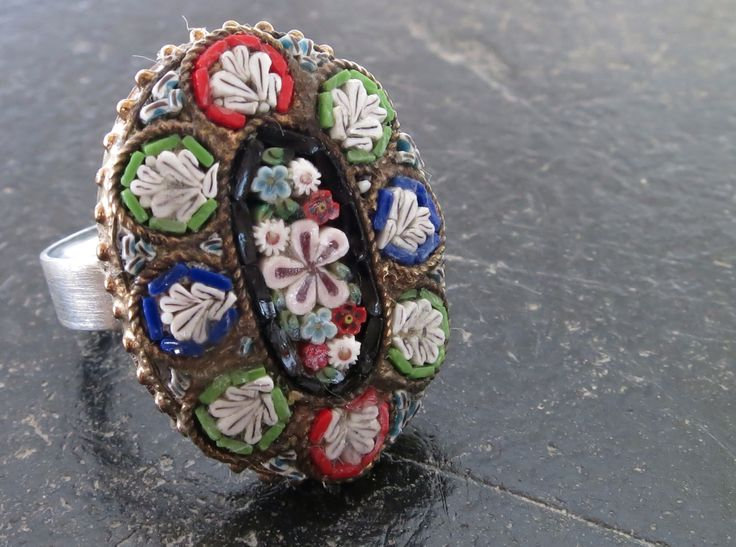 Antique micro mosaic broach (made in Italy) remade into a ring