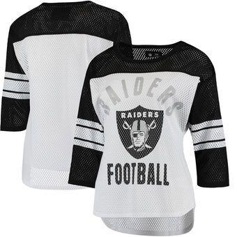 Oakland Raiders G-III 4Her by Carl Banks Women's First Team Three-Quarter Sleeve Mesh T-Shirt - White/Black