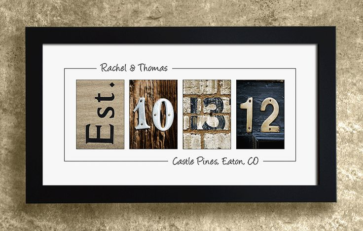 Numbers Photo Art - UNFRAMED, Wedding Date Numbers, Personalized Wedding Gift Idea. $29.95, via Etsy.