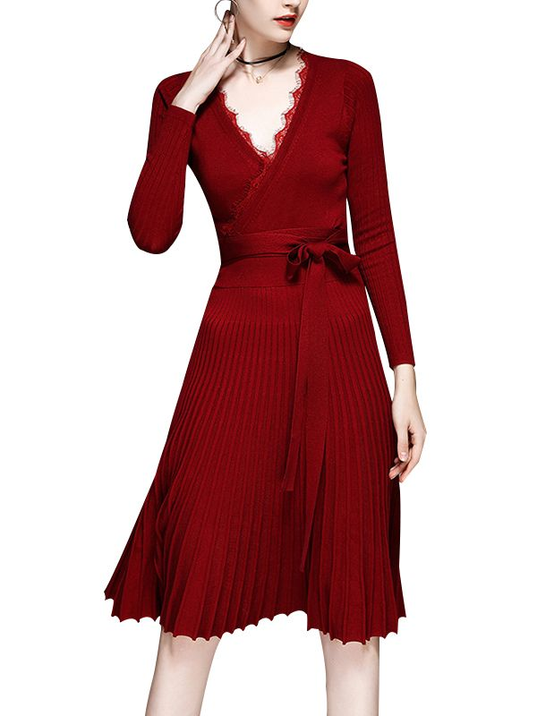 060c96aa6cd Shop - Red Wrap V-neck Knitted Rib Pleated Midi Dress on Metisu.com.  Discover stylish and vogue women s dresses for the season. Regular  discounts up to 60% ...
