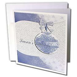 """Beverly Turner Christmas Design - Blue Holly Leaf Design Season s Greetings - Greeting Cards-6 Greeting Cards with envelopes by 3dRose. $12.49. Blue Holly Leaf Design Season s Greetings Greeting Card is a great way to say """"thank you"""" or to acknowledge any occasion. These blank cards are made of heavy duty card stock with a gloss exterior and a matte interior for smudge free writing. Cards are creased for easy folding and come with white envelopes. Available in sets ..."""