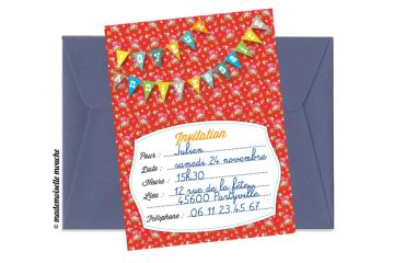 L'invitation anniversaire LIBERTY est idéale pour annoncer la fête d'anniversaire de votre enfant. La collection LIBERTY est composée de produits au motif du même nom associé à un motif à pois. Cette association donne un côté original aux produits qui trouveront une place de choix dans la préparation d'un goûter d'anniversaire.