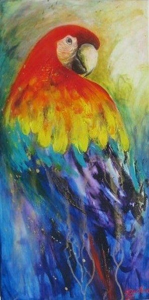 watercolor paintings of parrots   scarlet macaw parrot bird painting allan honor this time i decided to ...