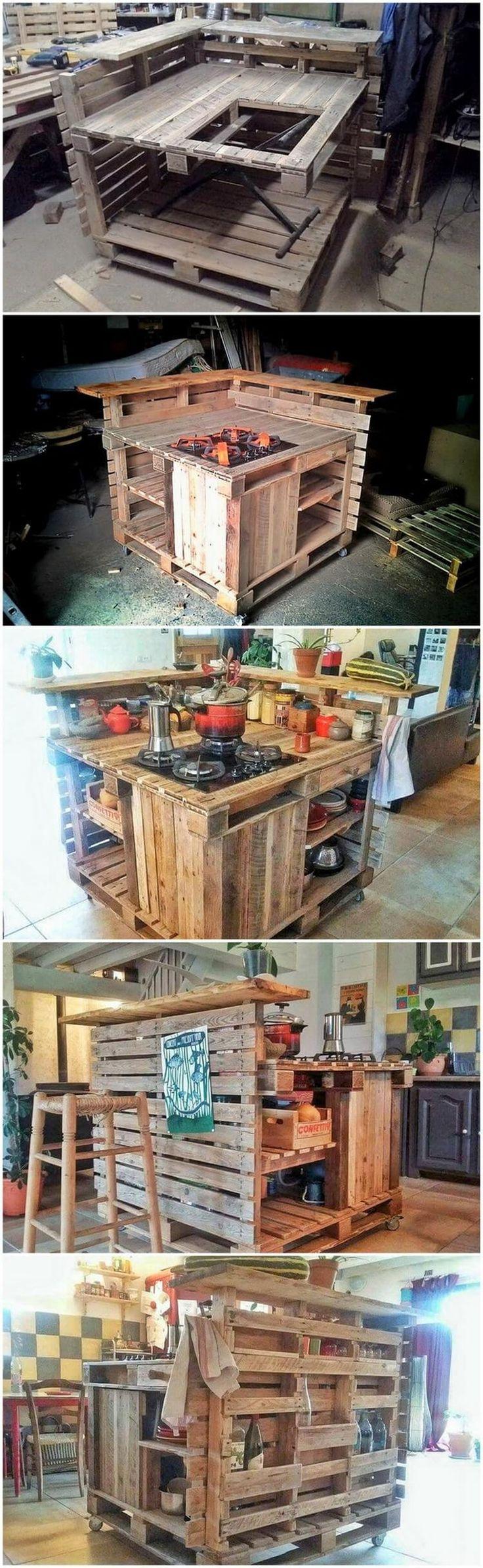 DIY Palette Kitchen Island # Island # Kuchen # Paletten
