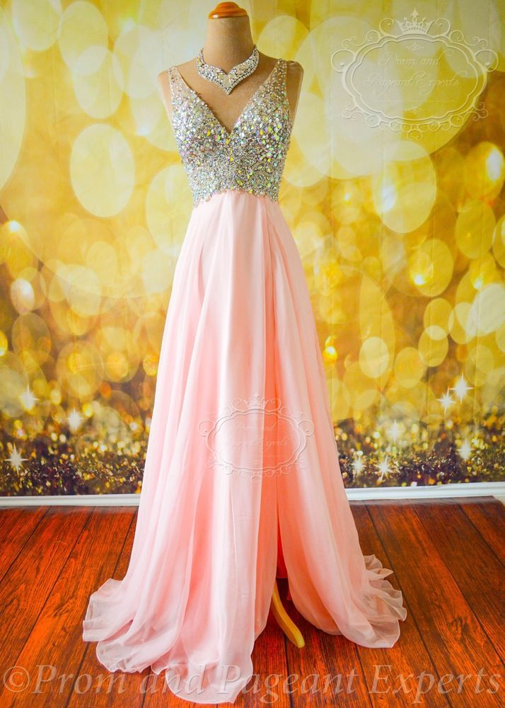 SHEER PINK FORMAL EVENING PROM LONG PAGEANT HOLIDAY PARTY GOWN DRESS XS 2 ARIANA #UnbrandedPrivateLabel #ARIANA #Formal