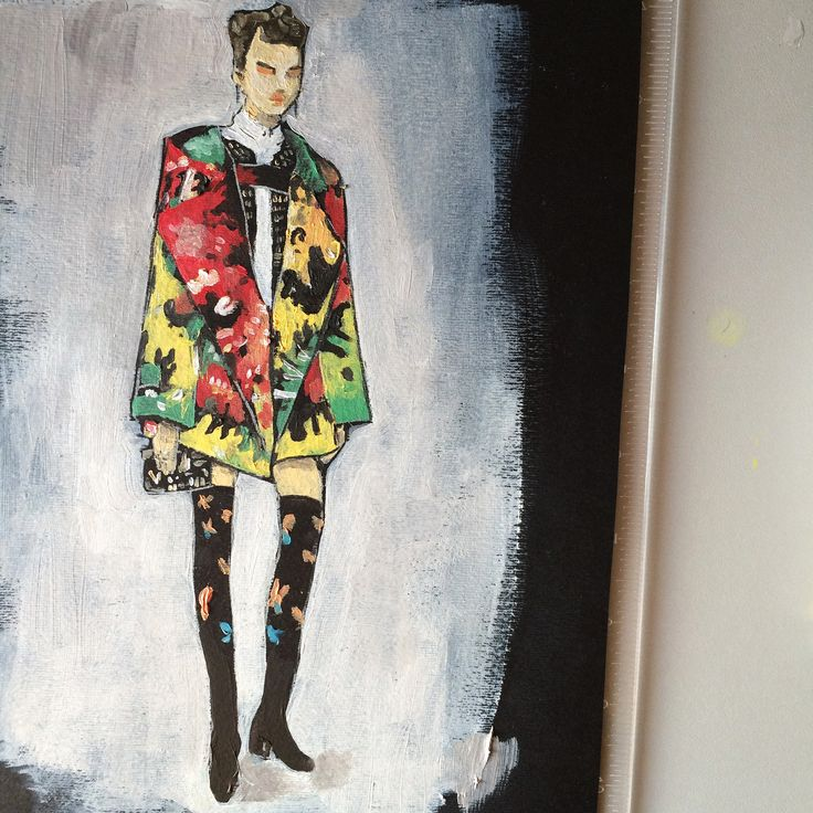 Valentino F016 - Oil Illustration / #illustration #art #arte #valentino #sketch #fashionsketch #fashion #fashionillustration #oil #drawing #disegno #photo